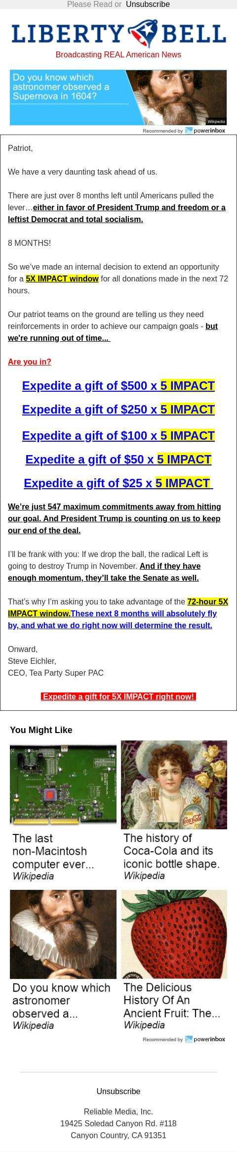 Screenshot of the email generated on import